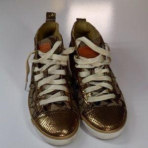 """COACH INDIANA Snakeskin """"C"""" Signature Logo Sneaker"""